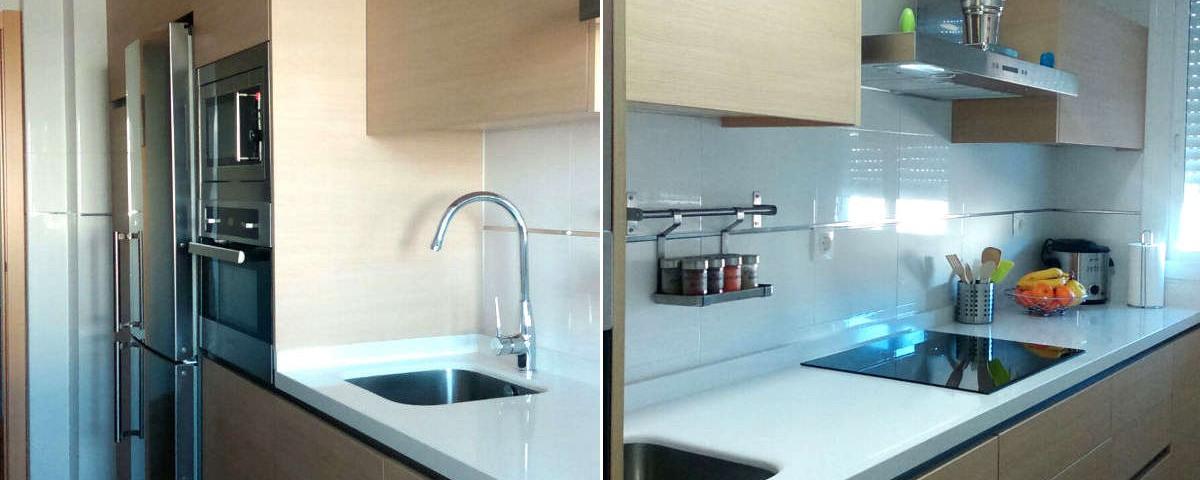 Dise o de cocina en blanco y madera cocinas capis - Cocinas en blanco ...
